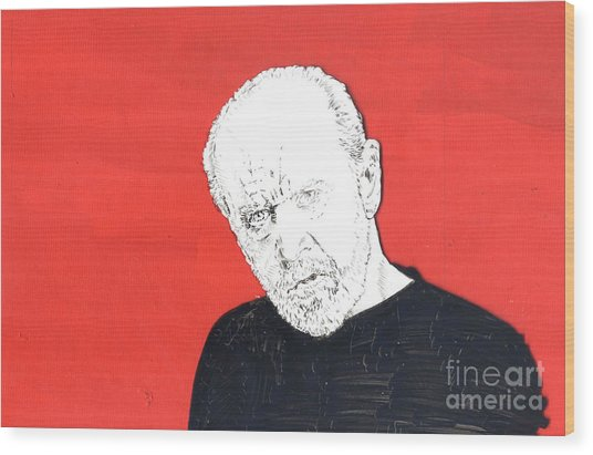 The Priest On Red Wood Print