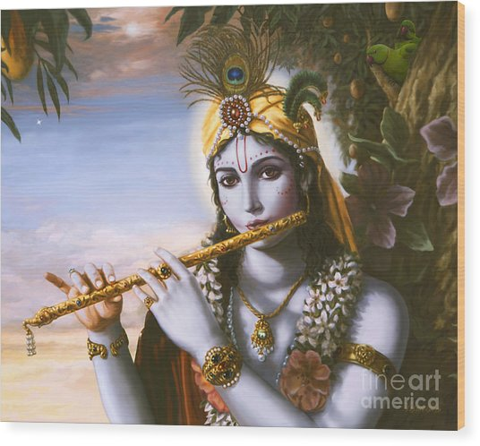 The Primordial Flute Player Wood Print