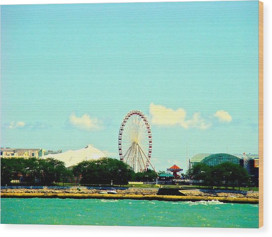 The Promise Of A Ferris Wheel Wood Print