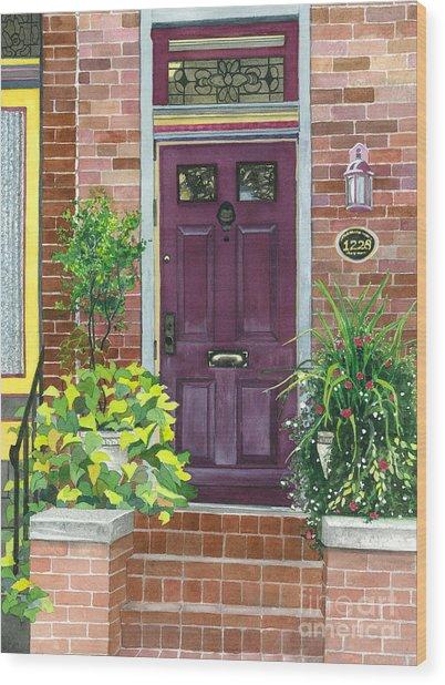 The Purple Door Wood Print