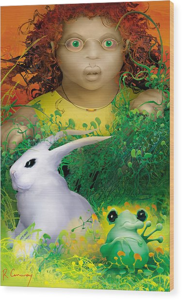 The Rabbit And The Frog Wood Print by Robert Conway