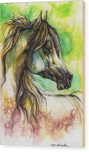 The Rainbow Colored Arabian Horse Wood Print