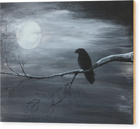 The Raven Piece 2 Of 2 Wood Print