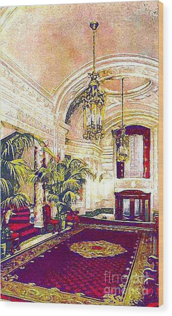 The Rector Hotel Lobby Staircase In 1910 Wood Print by Dwight Goss