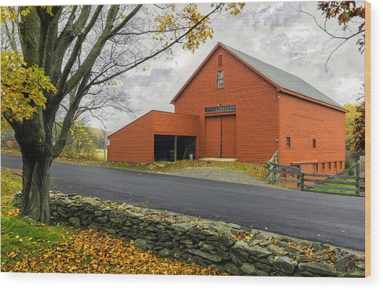The Red Barn At The John Greenleaf Whittier Birthplace Wood Print