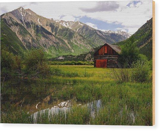 The Red Barn Door Wood Print