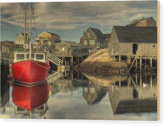 The Red Boat At Peggys Cove Wood Print