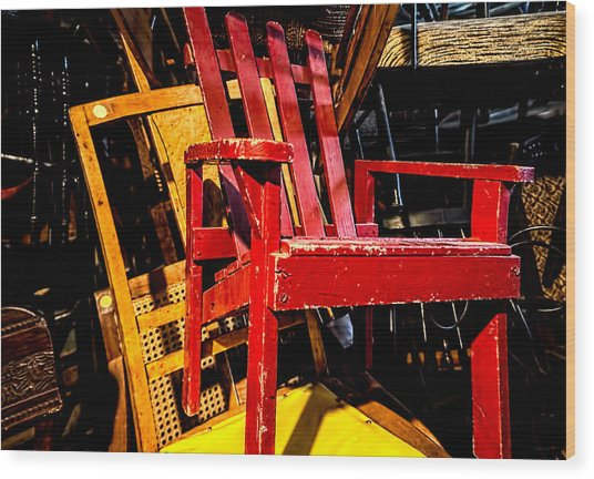 The Red Chair Wood Print