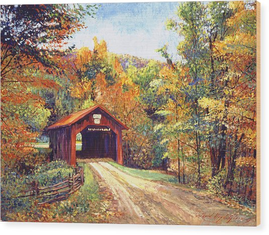 The Red Covered Bridge Wood Print