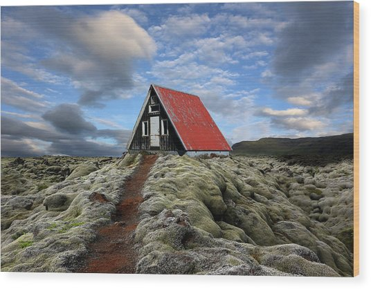 The Red Path To The Red Roof Wood Print by Michel Romaggi