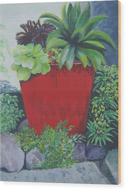 The Red Pot Wood Print