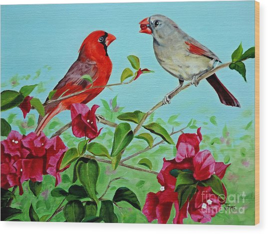 The Redbirds Wood Print