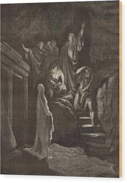 The Resurrection Of Lazarus Wood Print by Antique Engravings