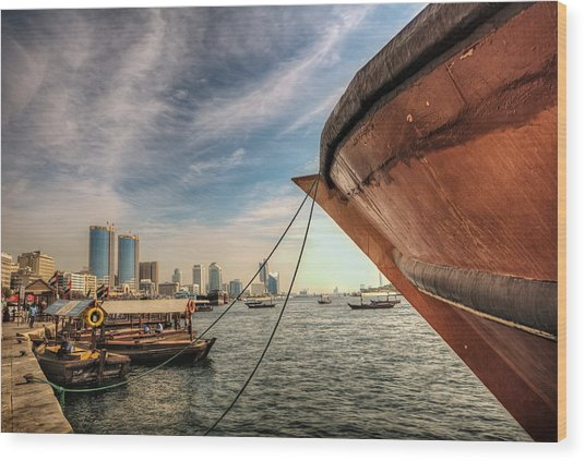 The River Of Dubai Wood Print