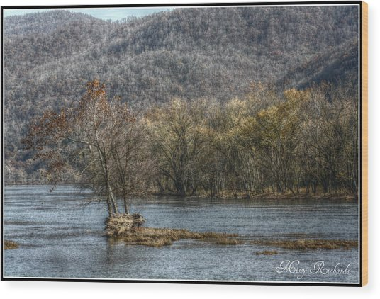 The River Runs Through It Wood Print by Missy Richards