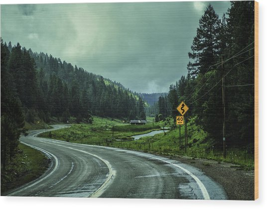 The Road To Silver Lake Wood Print