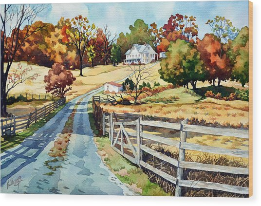 The Road To The Horse Farm Wood Print