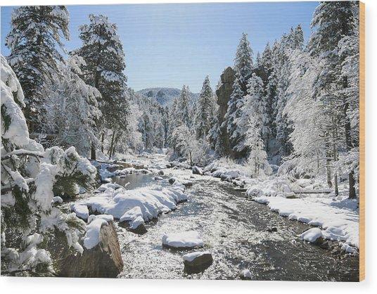The Rockies In Winter Wood Print by Jill Bell