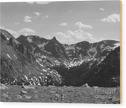 The Rockies Monochrome Wood Print