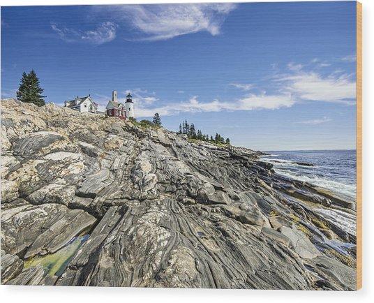 The Rocks At Pemaquid Point Maine Wood Print
