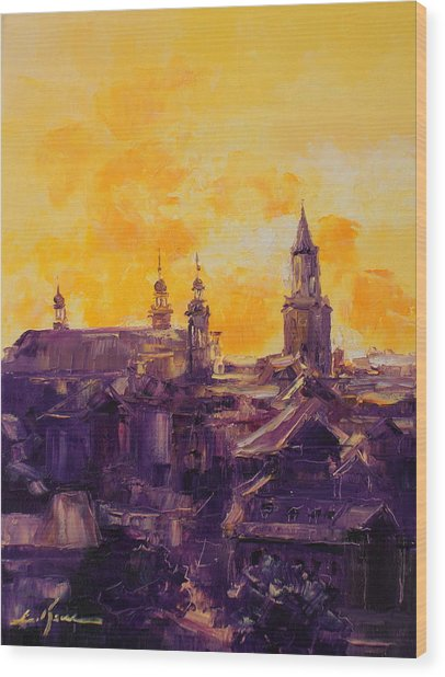 The Roofs Of Lublin Wood Print