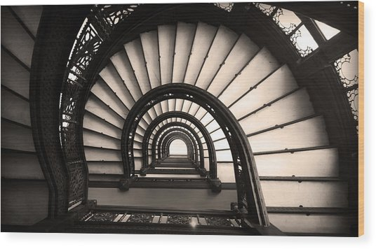 The Rookery Staircase In Sepia Tone Wood Print