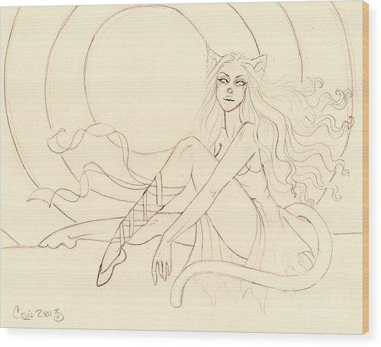 The Ruby Slipper Sketch Wood Print by Coriander  Shea