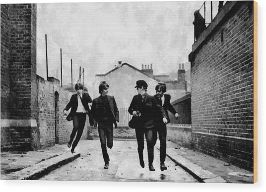 The Running Beatles Wood Print
