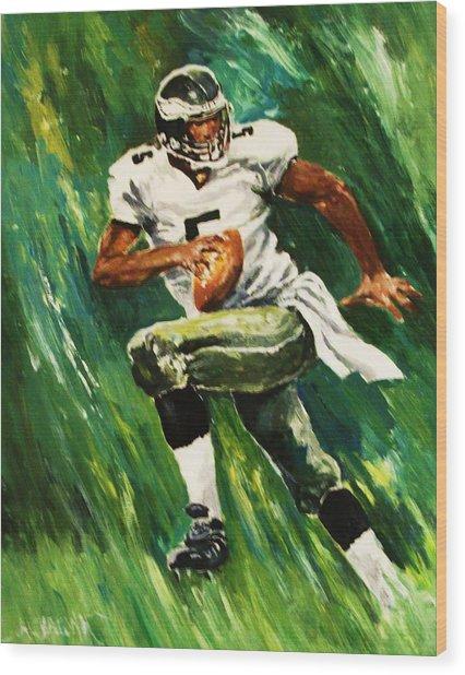 The Scambling Quarterback Wood Print