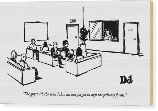 The Scene Is A Doctor's Waiting Room. People Wood Print