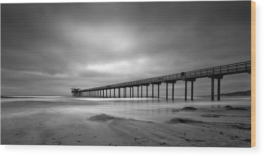 The Scripps Pier - Black And White Wood Print