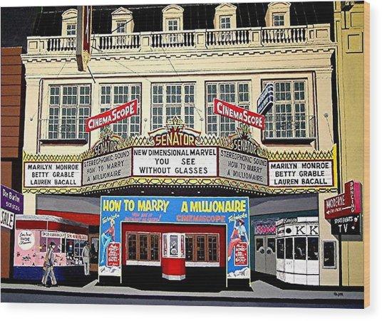 The Senator Theatre Wood Print by Paul Guyer