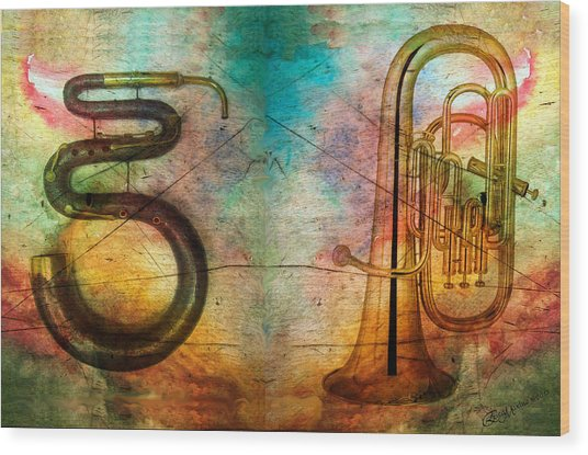 The Serpent And Euphonium -  Featured In Spectacular Artworks Wood Print