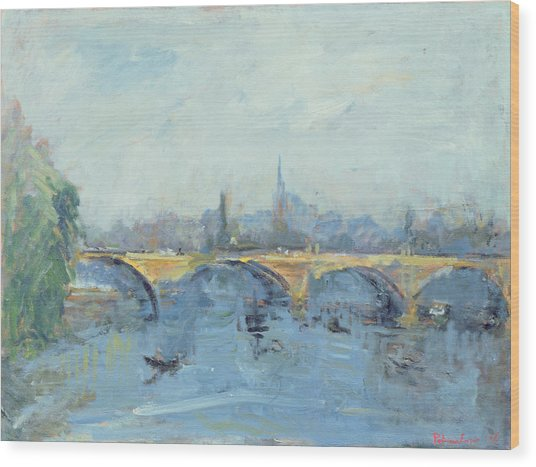 The Serpentine Bridge, London, 1996 Oil On Canvas Wood Print