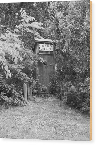 The Shack Out Back In Black And White Wood Print
