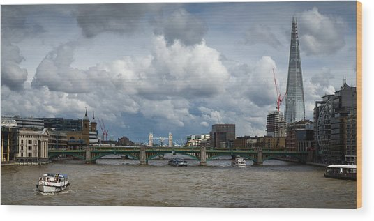 The Shard And Thames View Wood Print