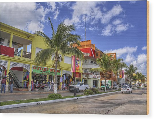 The Shops Of Cozumel Wood Print