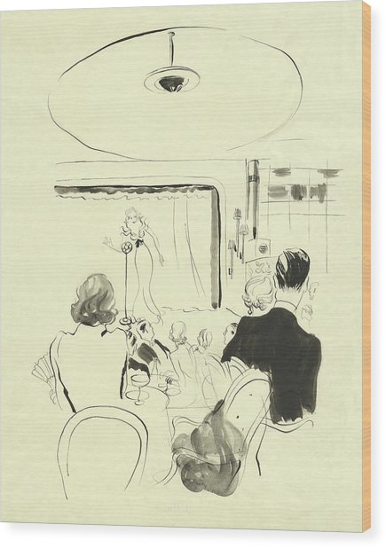 The Silver Room At Grosvenor House Wood Print by Rene Bouet-Willaumez