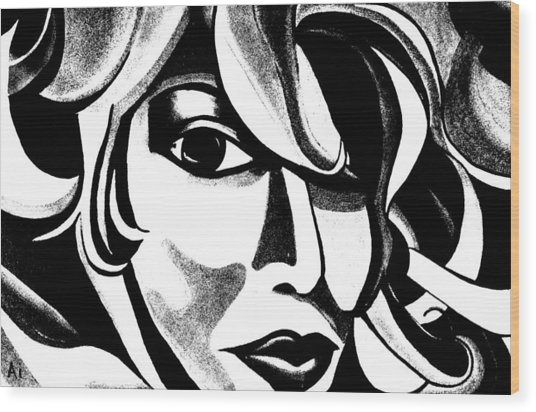 Black And White Abstract Woman Face Art Wood Print