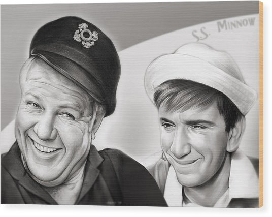 The Skipper And Gilligan Wood Print