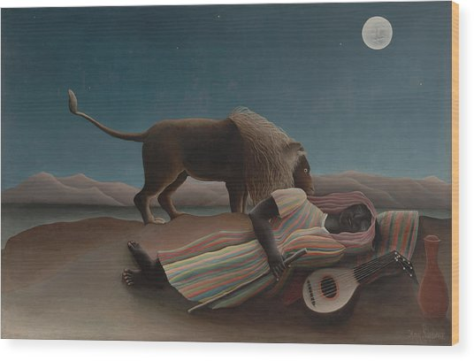 The Sleeping Gypsy Wood Print