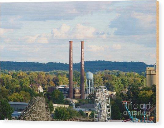 The Smoke Stacks Stand Resolute  Wood Print