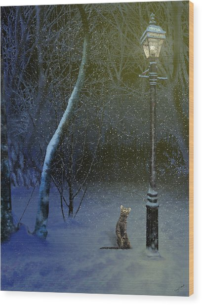 The Snow Cat Wood Print