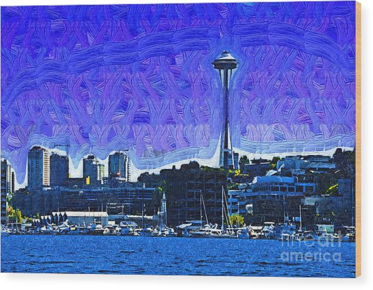The Space Needle From Lake Union Wood Print