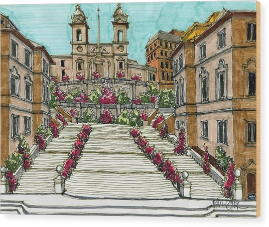 The Spanish Steps In Rome Wood Print