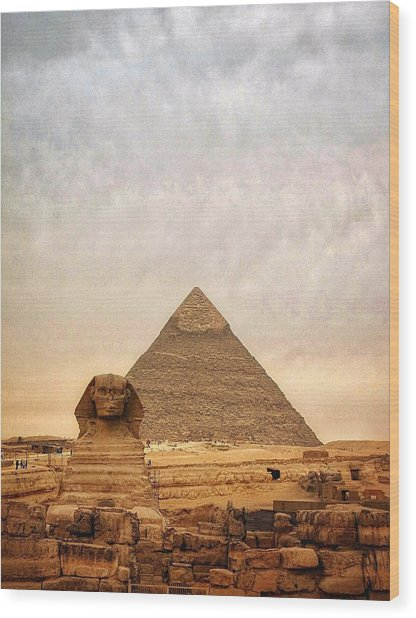 The Sphinx And Pyramid Of Chephren Wood Print by Marie-louise Mandl / Eyeem