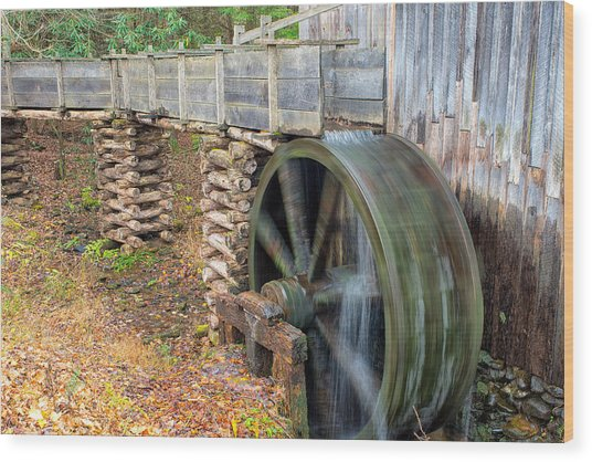 The Spinning Water Wheel Wood Print