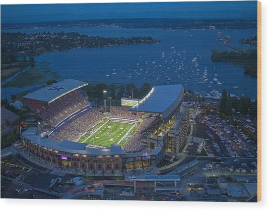 Husky Stadium And The Lake Wood Print