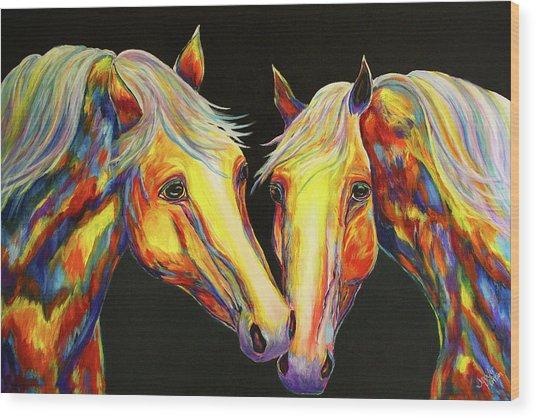 The Stallion Kiss Paint Horses Wood Print