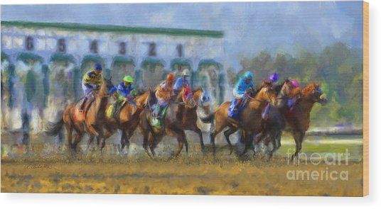 The Starting Gate Wood Print